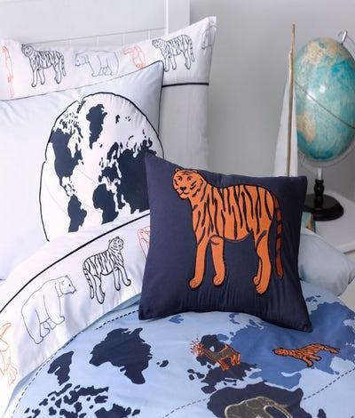Maholi - Animal Atlas Embroidered Breakfast Cushion